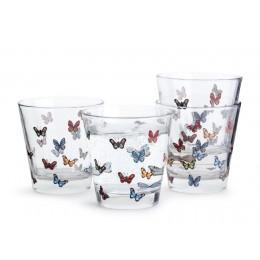 Набор 4-х стаканов Бабочки SagaForm Kitchen 200 мл