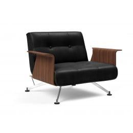 Кресло Innovation Living Clubber с подлокотниками, чёрная экокожа