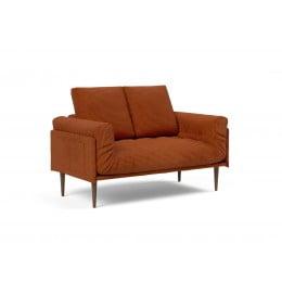 Кушетка Innovation Living Rollo Styletto тёмный дуб, вельвет оранжевая