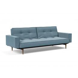 Диван-кровать Innovation Living Splitback Styletto тёмный дуб с подлокотниками, голубой