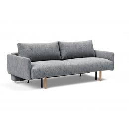 Диван-кровать Innovation Living Frode с ножками Stem и подлокотниками, серый
