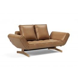 Кушетка Innovation Living Ghia с ножками из лакированного дуба, экокожа коричневая