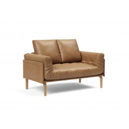 Кушетка Innovation Living Rollo с деревянными ножками Bow, экокожа коричневая