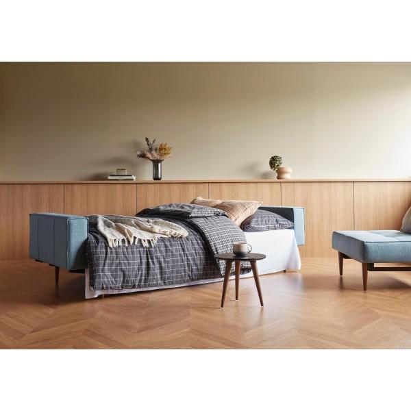 Диван-кровать Innovation Living Splitback Styletto тёмный дуб с подлокотниками, тёмно-серый