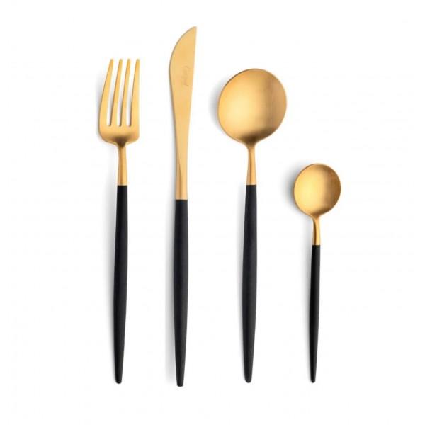 Набор столовых приборов CUTIPOL Goa Gold, позолоченные чёрные
