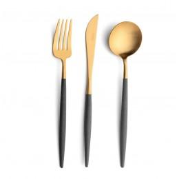 Набор столовых приборов CUTIPOL Goa Grey Gold 24 предмета, позолоченные серый