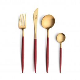 Набор столовых приборов CUTIPOL Goa Red Gold, позолоченные красные