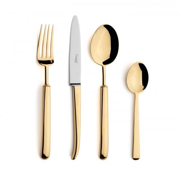 Набор столовых приборов CUTIPOL Carre Gold, зеркальная полировка позолоченные