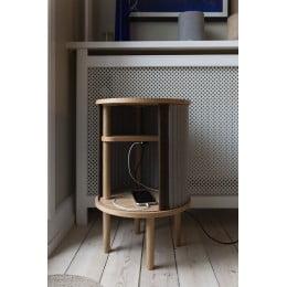 Тумба Umage Audacious Side table, чёрный дуб, коричневая экокожа