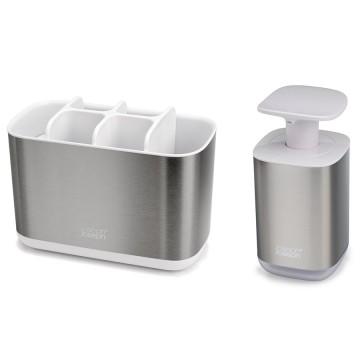 Набор из органайзера для зубных щеток EasyStore Steel и диспенсера для мыла Presto Steel