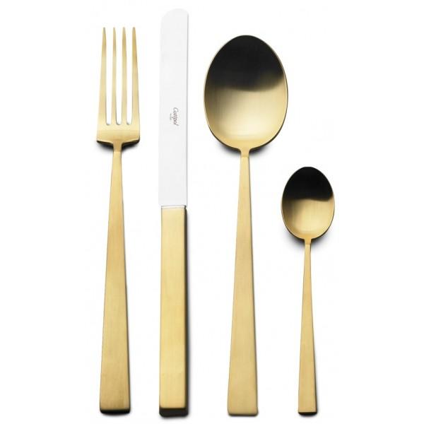 Набор столовых приборов CUTIPOL BAUHAUS MATTE GOLD 24 предмета в деревянной шкатулке