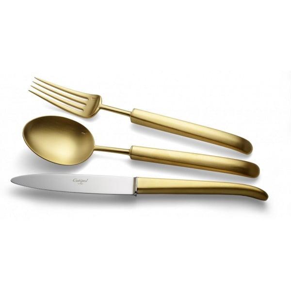 Набор столовых приборов CUTIPOL CARRE MATTE GOLD 24 предмета в деревянной шкатулке
