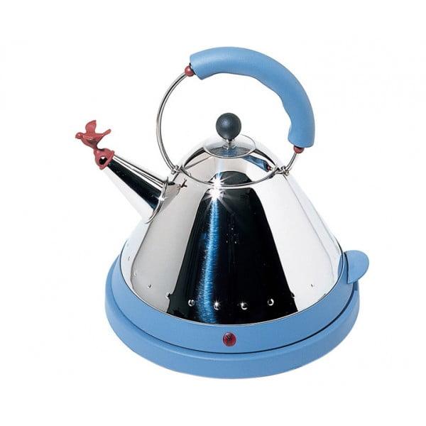 Чайник электрический со свистком светло-голубой