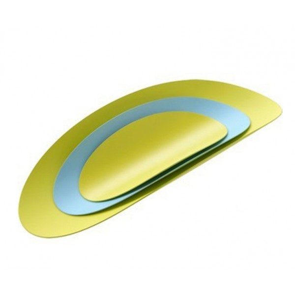 Набор из 3-х стальных блюд Ellipse бирюзовый/желтый