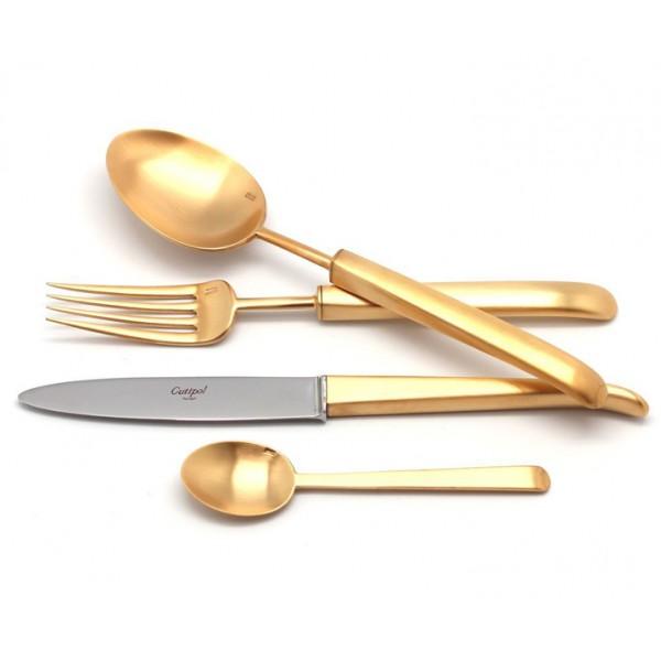 Набор столовых приборов CUTIPOL CARRE GOLD матовый