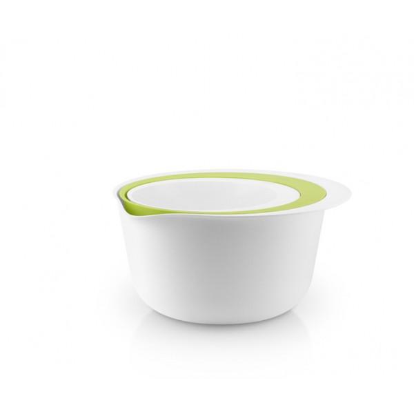 Набор мисок с дуршлагом белый/зеленый