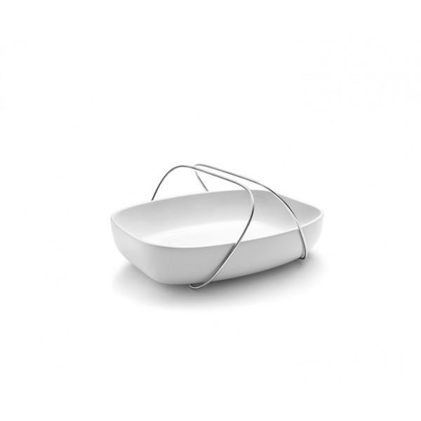 Блюдо керамическое с ручками из нержавеющей стали