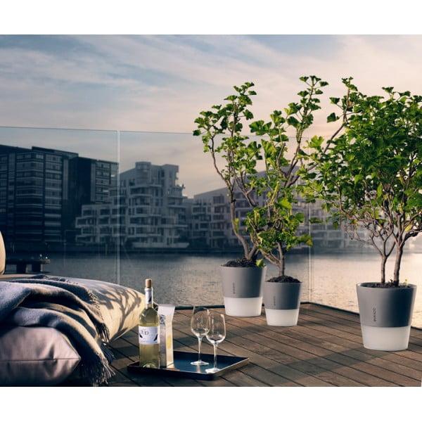 Горшок с функцией естественного полива Flowerpot 20 см серый