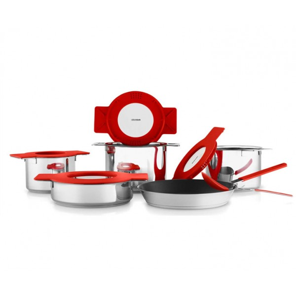 Сотейник с крышкой Gravity 24 см красный