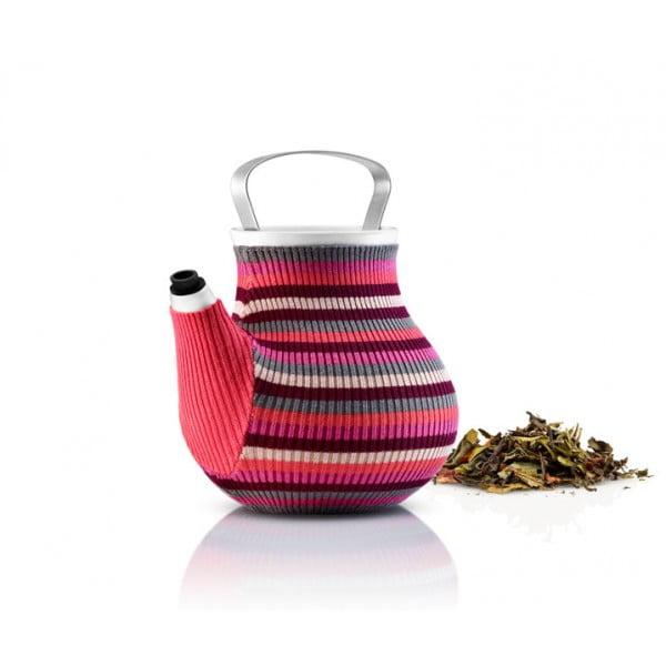 Чайник My Big Tea в вязаном чехле розовый в полоску