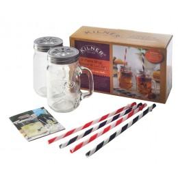 Подарочный набор из 2 банок с ручками и 4 трубочек Kilner