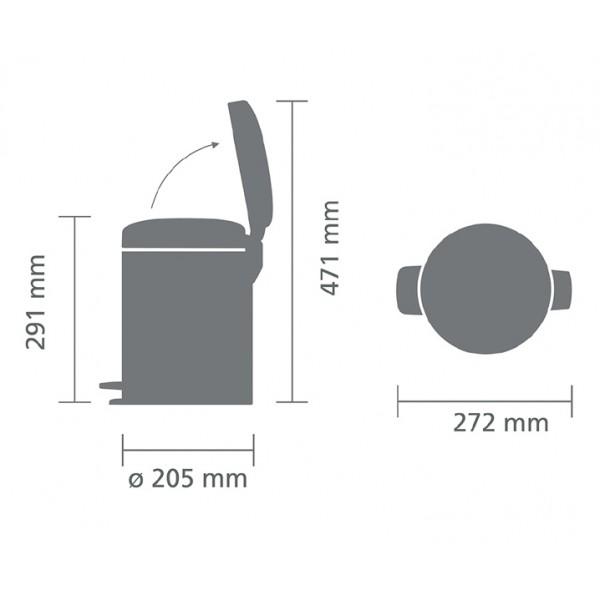Мусорный бак с педалью New Icon 5 л cтальной матовый FFP