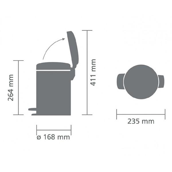 Мусорный бак с педалью New Icon 3 л белый