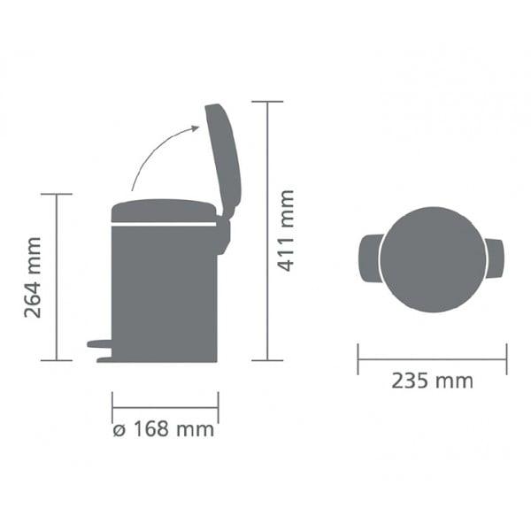 Мусорный бак с педалью New Icon 3 л миндальный