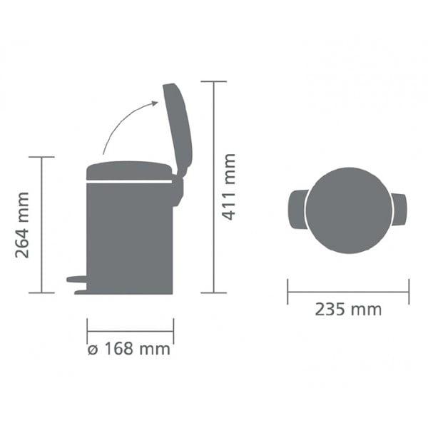 Мусорный бак с педалью New Icon 3 л стальной полированный