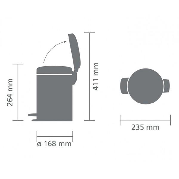 Мусорный бак с педалью New Icon 3 л стальной матовый FFP
