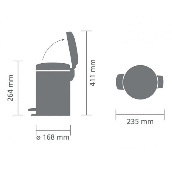 Мусорный бак с педалью New Icon 3 л платиновый