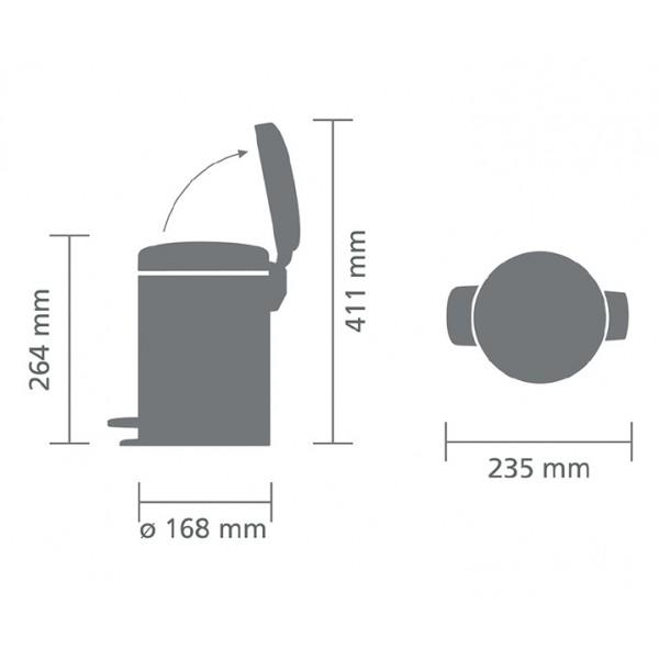 Мусорный бак с педалью New Icon 3 л серый металлик