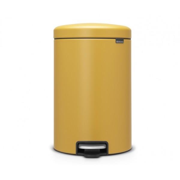 Мусорный бак с педалью New Icon 20 л желтый с эффектом минерального напыления