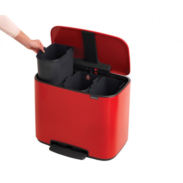 Мусорный бак Bo с педалью 3х11 л пламенно-красный
