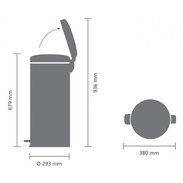 Мусорный бак New Icon 30 л серый металлик