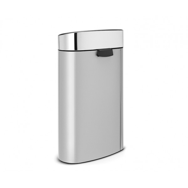 Мусорный бак Touch Bin New 40 л серый металлик крышка стальная полированная