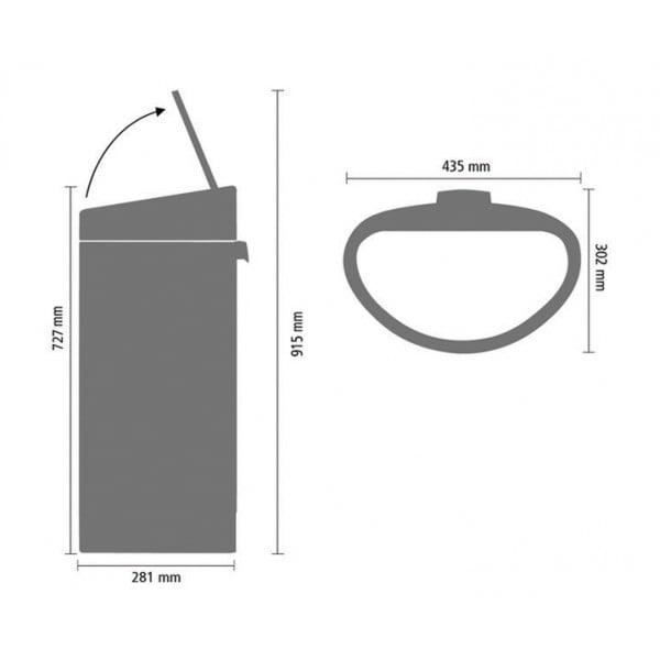 Мусорный бак Touch Bin New 40 л серый металлик