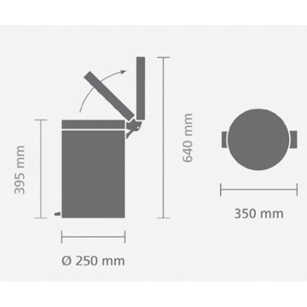 Мусорный бак с педалью 12 л классический мятный металлик