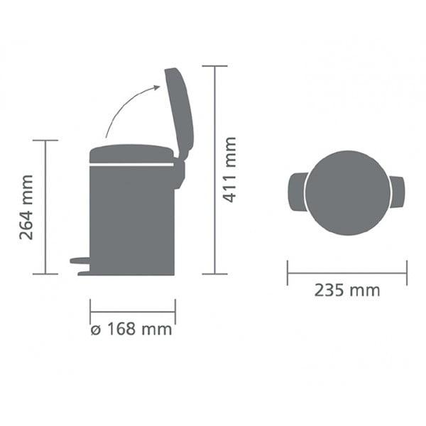 Мусорный бак с педалью New Icon 3 л стальной матовый