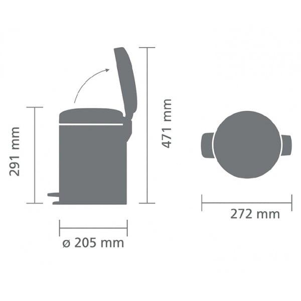 Мусорный бак с педалью New Icon 5 л металлическое внутреннее ведро белый