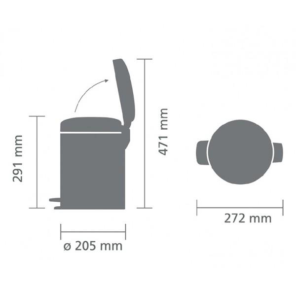 Мусорный бак с педалью New Icon 5 л металлическое внутреннее ведро стальной полированный