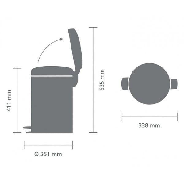 Мусорный бак с педалью New Icon 12 л металлическое внутреннее ведро белый