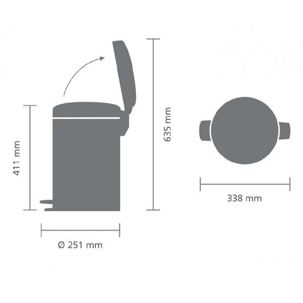 Мусорный бак с педалью New Icon 12 л металлическое внутреннее ведро стальной полированный