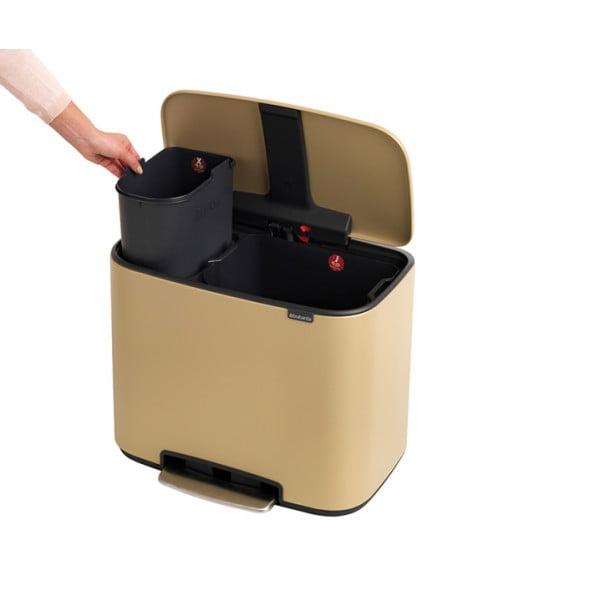 Мусорный бак Bo с педалью (11 л + 23 л) золотой с эффектом минерального напыления