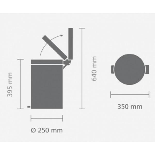 Мусорный бак с педалью 12 л классический серый металлик