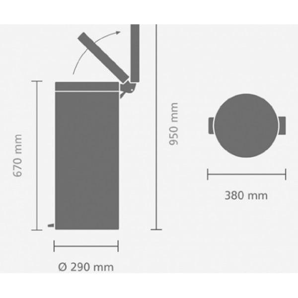 Мусорный бак с педалью 30 л классический серый металли