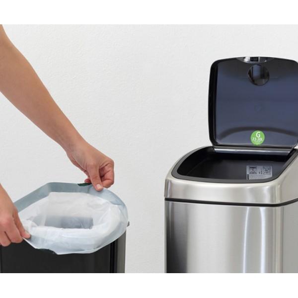 Мусорный бак Touch Bin прямоугольный 25 л стальной матовый (FPP)