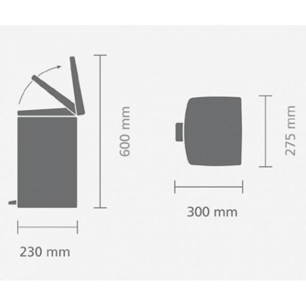Прямоугольный мусорный бак с педалью 10 л матовая сталь