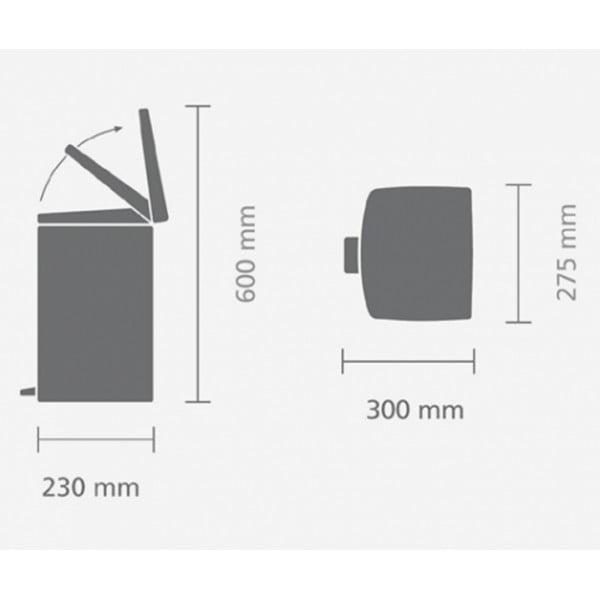 Прямоугольный мусорный бак с педалью 10 л стальной матовый FPP