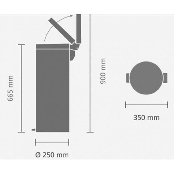 Мусорный бак высокий с педалью 20 л бесшумный серый металлик